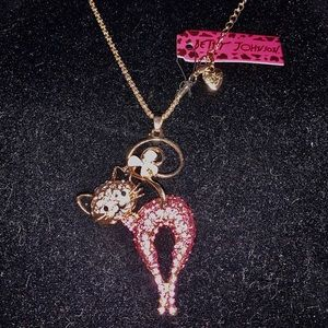 Reduced Betsey Johnson Pink Kitty Necklace